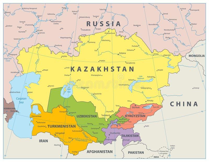 Środkowa Azja Polityczna mapa ilustracja wektor