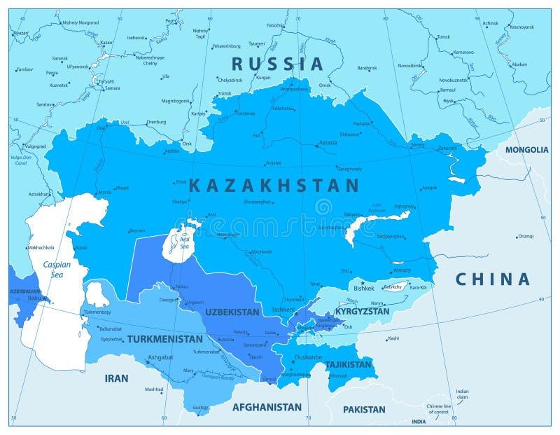 Środkowa Azja Polityczna mapa W kolorach błękit ilustracji