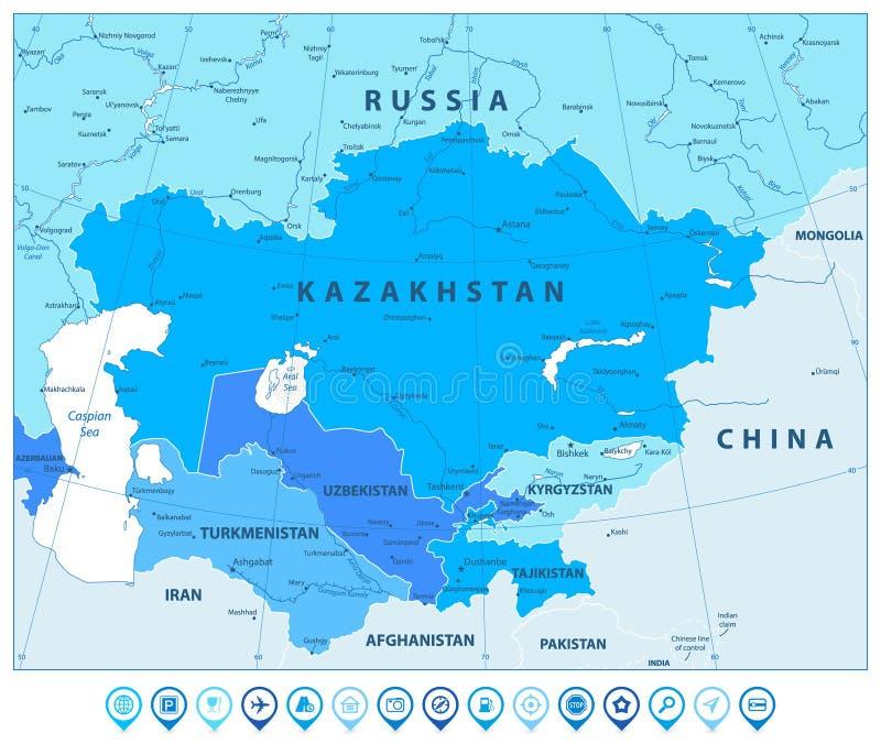 Środkowa Azja Polityczna mapa W kolorach błękita i mapy pointery royalty ilustracja