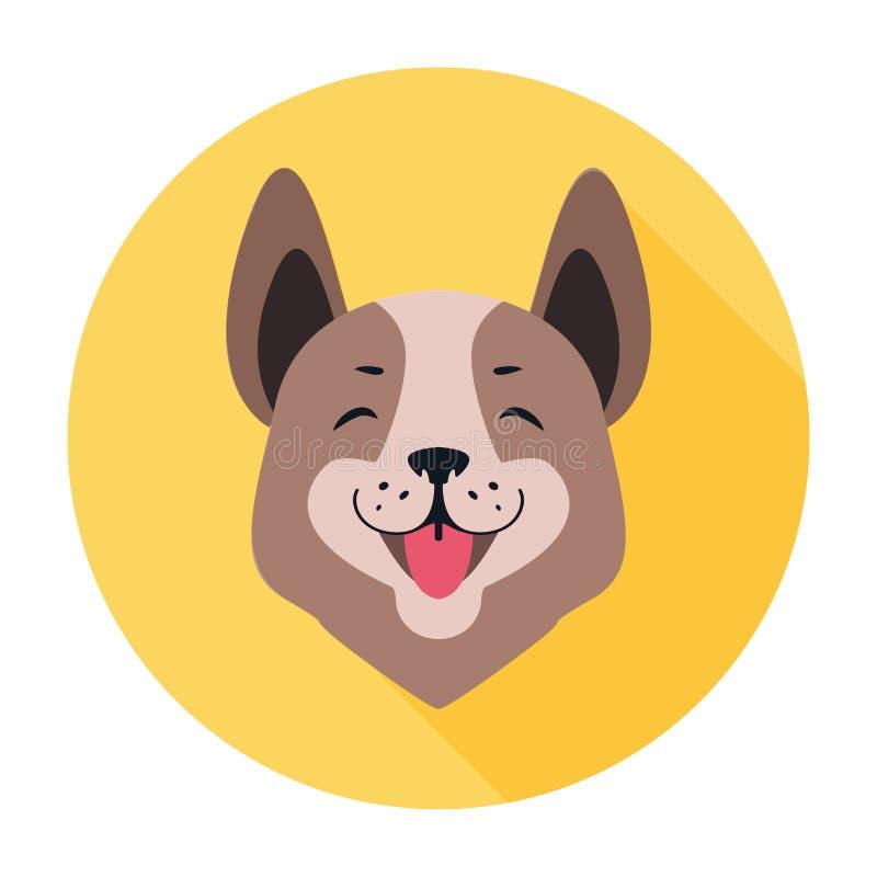 Środkowa Azjatycka Pasterskiego psa ikony Doggy Płaska głowa ilustracji