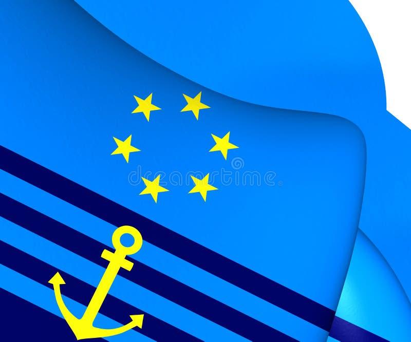Środkowa prowizja dla nawigaci na Rhine flaga ilustracja wektor