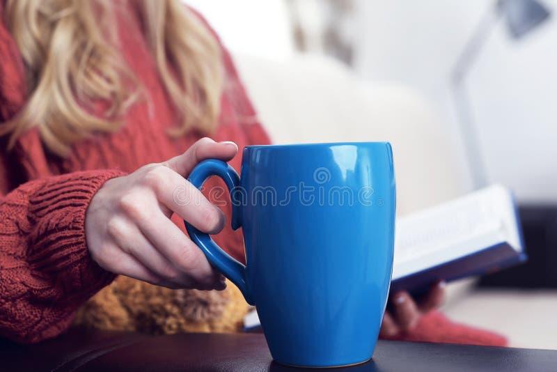 Środkowa sekcja siedzi na leżance relaksuje w jej żywej izbowej czytelniczej książce i pije kawę młoda kobieta w domu obrazy stock