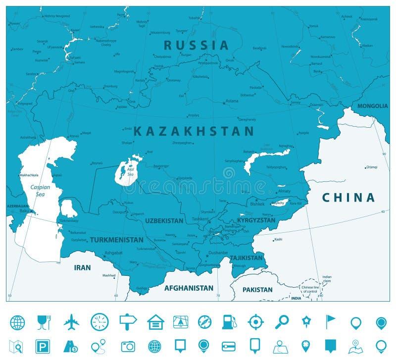 Środkowe Azja nawigaci i mapy Polityczne ikony ilustracja wektor