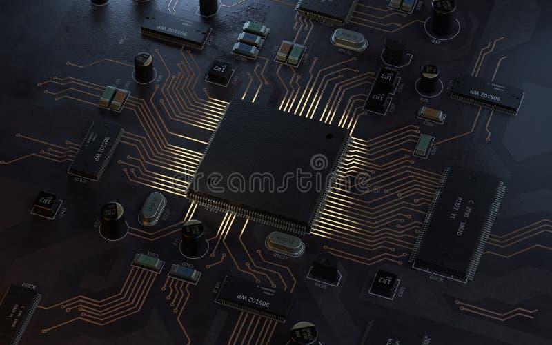 Środkowego komputeru procesorów jednostki centralnej pojęcie ilustracja wektor