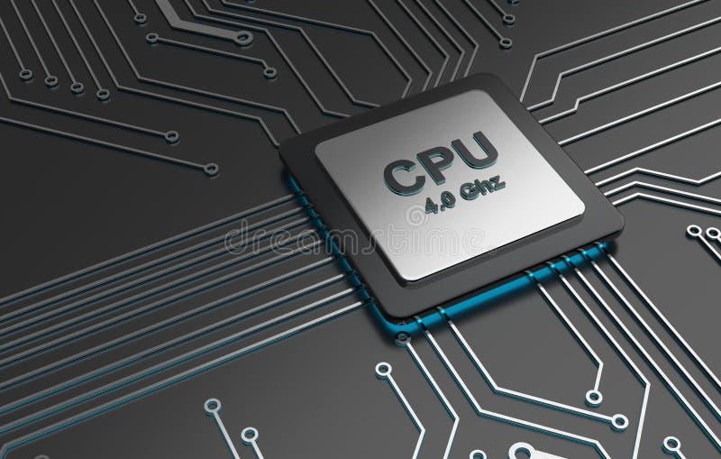 Środkowego komputeru procesory, jednostki centralnej informatyka, Elektroniczny pojęcie ilustracji
