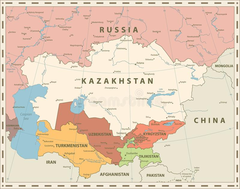 Środkowej Azja Politycznej mapy Retro kolory ilustracja wektor