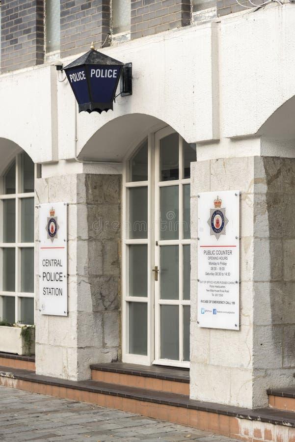 Środkowej komendy policji Uroczyści lufciki Kwadratowy Gibraltar obraz stock