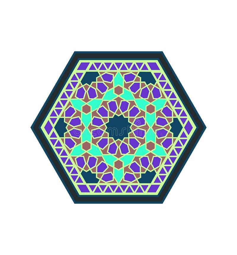 Środkowej wschodu stylu fiołka zieleni heksagonalny wzór royalty ilustracja