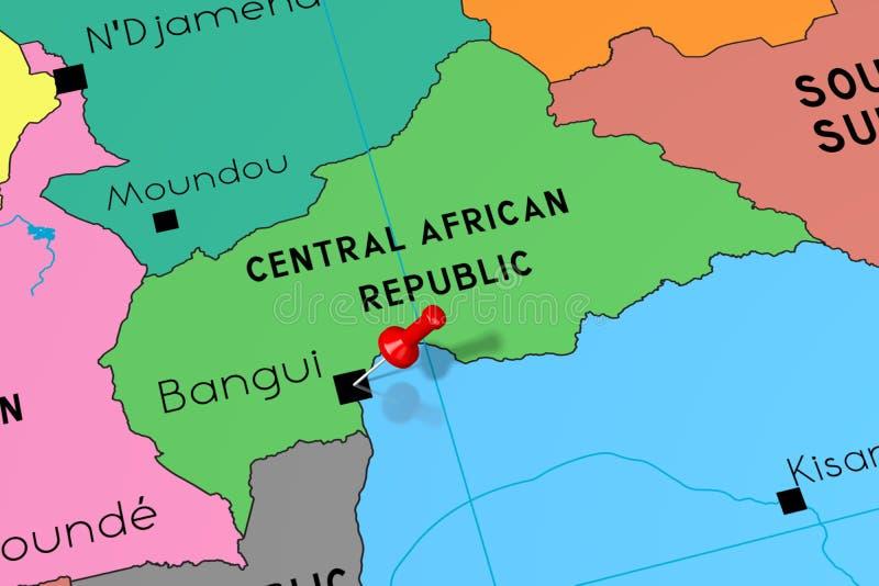 Środkowo-afrykański republika, Bangui - stolica, przyczepiająca na politycznej mapie ilustracji