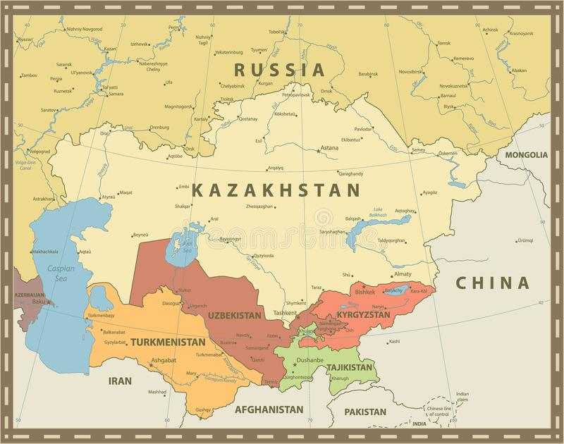 Środkowy Azja mapy rocznika Polityczny kolor royalty ilustracja