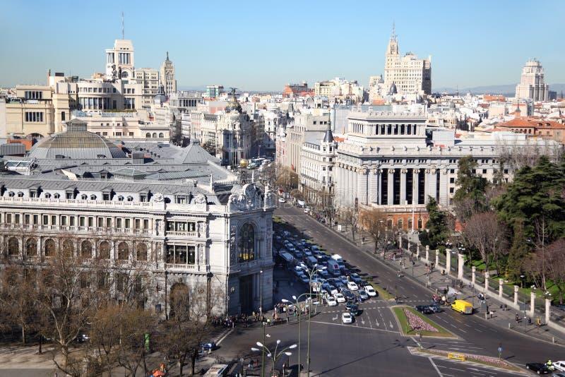 Środkowy bank Hiszpania przy Granem Przez ulicy obraz royalty free