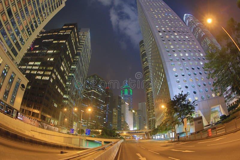 Środkowy noc widok przy Hong kong obraz royalty free