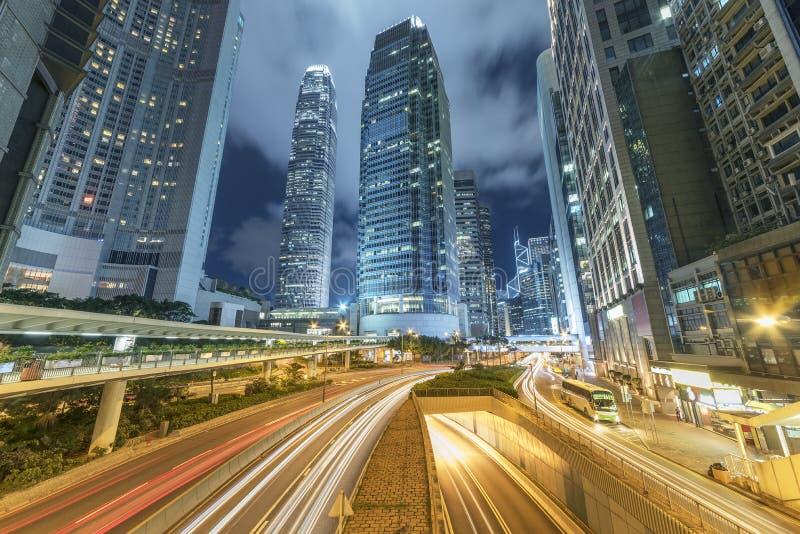 Środkowy okręg Hong Kong miasto przy nocą fotografia stock