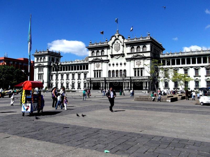 Środkowy plac i Krajowy kultura pałac w w centrum Gwatemala mieście zdjęcia royalty free