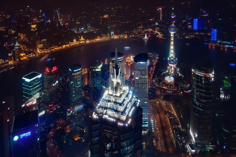 Środkowy Pudong terenu widok od Szanghaj światu centrum finansowego zdjęcie royalty free