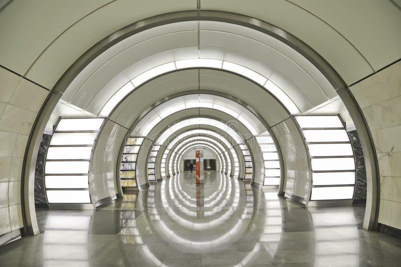 Środkowy sala wnętrze ` Fonvizinskaya ` stacja Lublinsko-Dmitrovskoy linia Moskwa metro obrazy stock