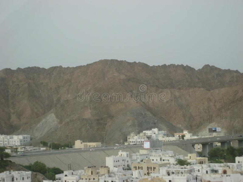 Środkowy Wschód, Oman, malowniczy widok nad Muszkatołową Oman krajobrazu fotografią obraz stock