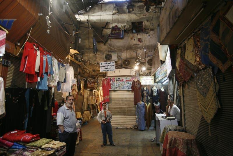 ŚRODKOWY WSCHÓD SYRIA DAMASKUS miasteczka SOUQ STARY rynek zdjęcie stock