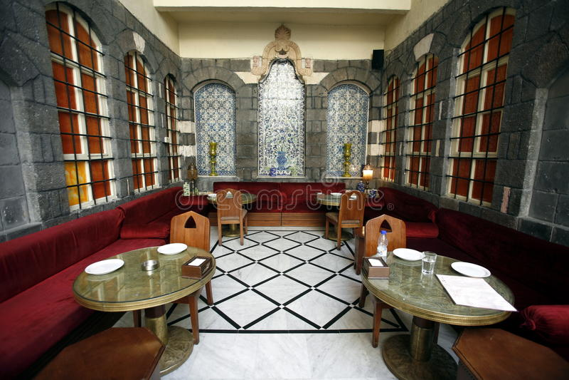ŚRODKOWY WSCHÓD SYRIA DAMASKUS STARA GRODZKA restauracja zdjęcie royalty free