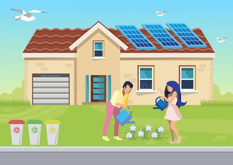 Środowisko Życzliwa Rodzinna Płaska ilustracja ilustracji