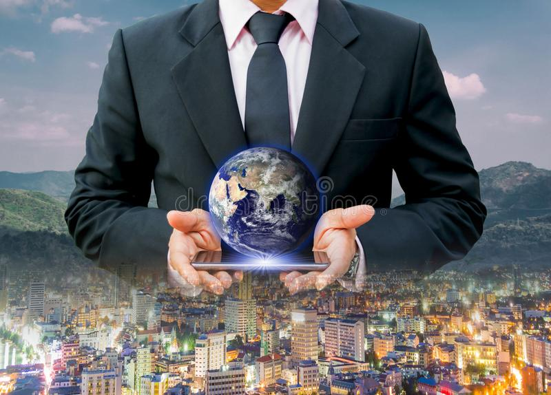 Środowisko dla światowej Miastowej ochrony środowiska i technologia, elementy ten wizerunek meblujący NASA zdjęcie stock