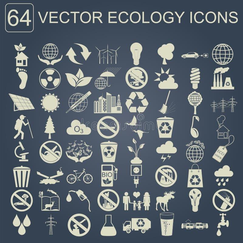 Środowisko, ekologii ikony set Środowiskowi ryzyko, ekosystem ilustracji