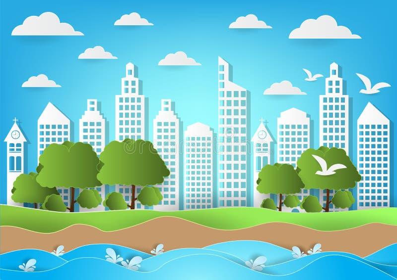Środowisko miasto z morza i plaży tłem Papierowa sztuka stylu wektoru ilustracja