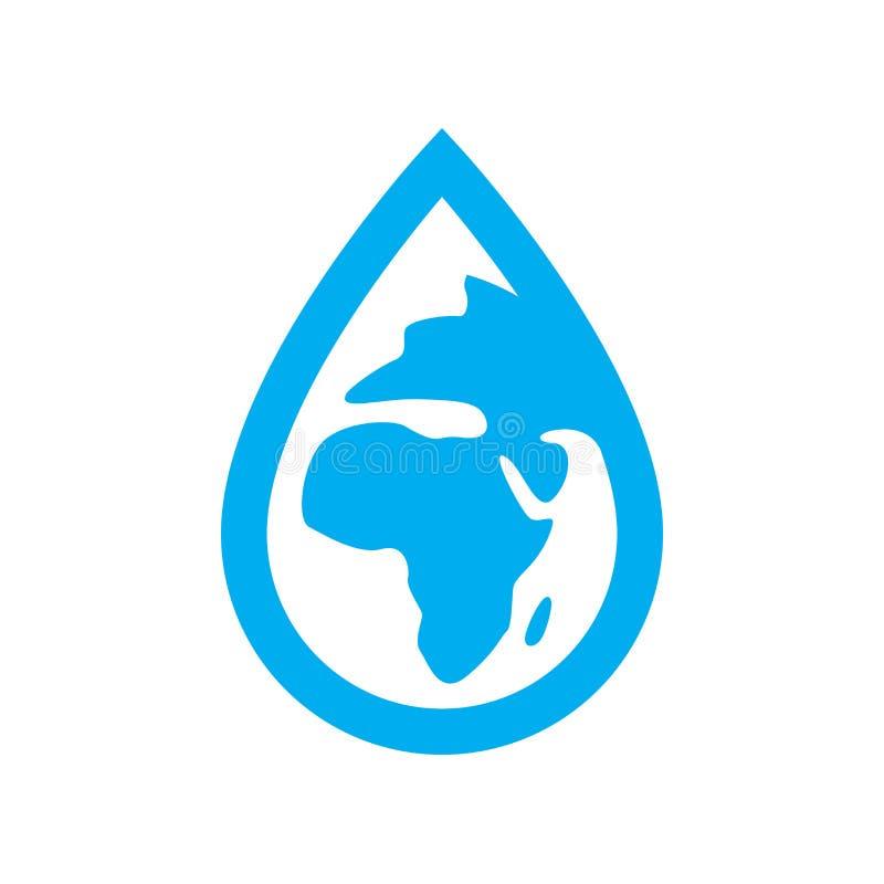 Środowisko wodna ikona Błękitna planety ziemia w wody kropli symbolu royalty ilustracja