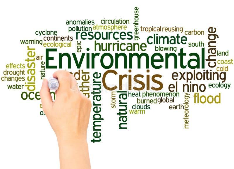 Środowiskowa kryzysu słowa chmury ręka pisze pojęciu ilustracja wektor