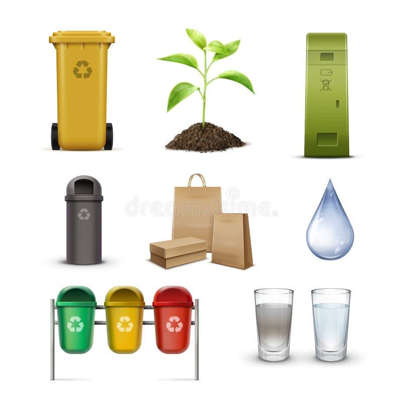 Środowiskowej konserwaci set ilustracja wektor