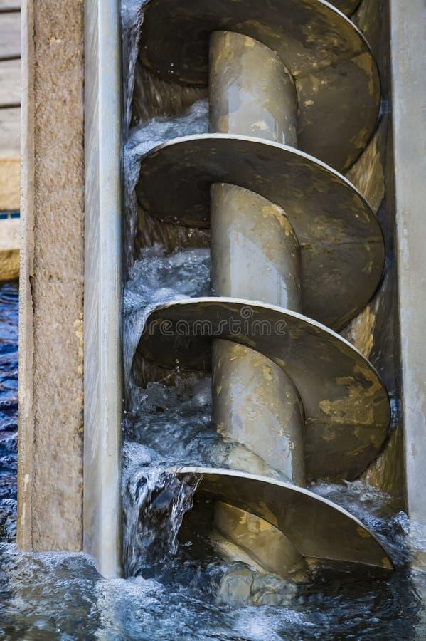 Śruba Archimedesa, śruba Archimedeana lub pompa śrubowa, jest maszyną historycznie używaną do przesyłania wody z nisko położonego fotografia royalty free
