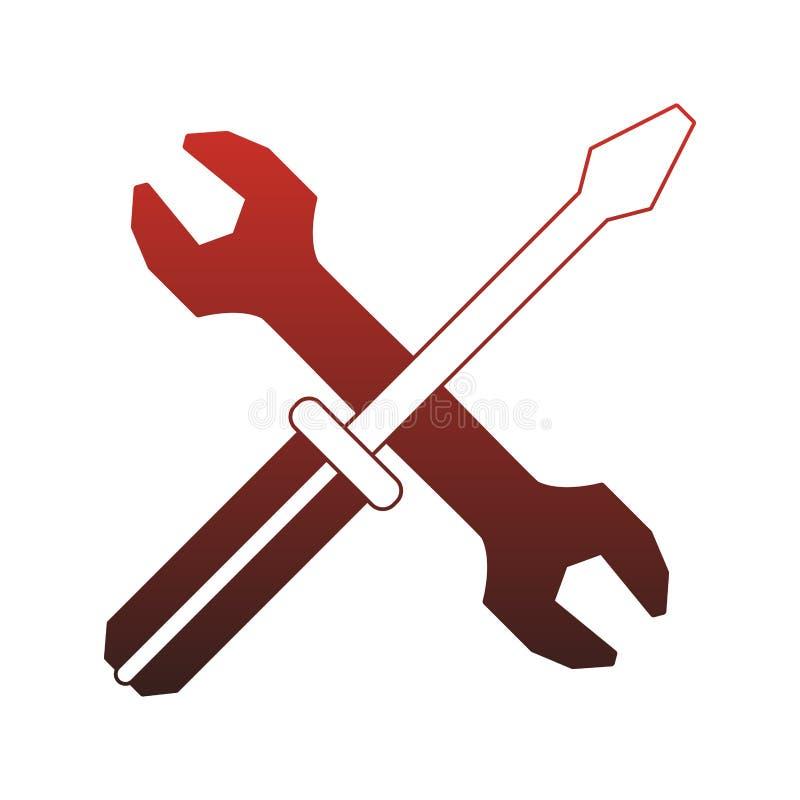 Śrubokrętu i wyrwania budowy narzędzi czerwone linie ilustracji