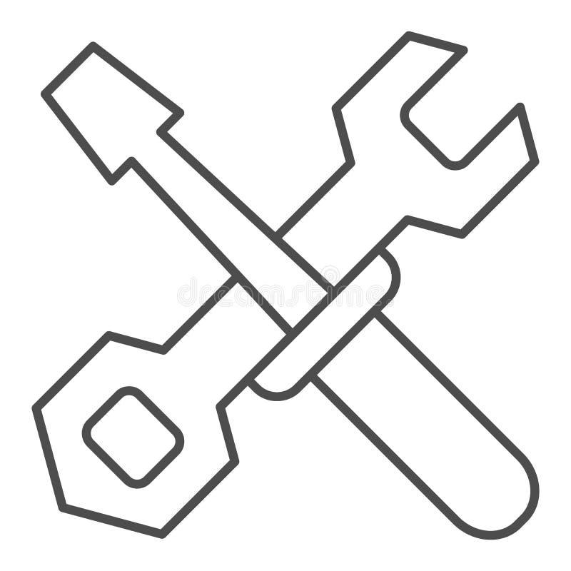 Śrubokrętu i wyrwania cienka kreskowa ikona Budowa wytłacza wzory wektorową ilustrację odizolowywającą na bielu Remontowy konturu ilustracji