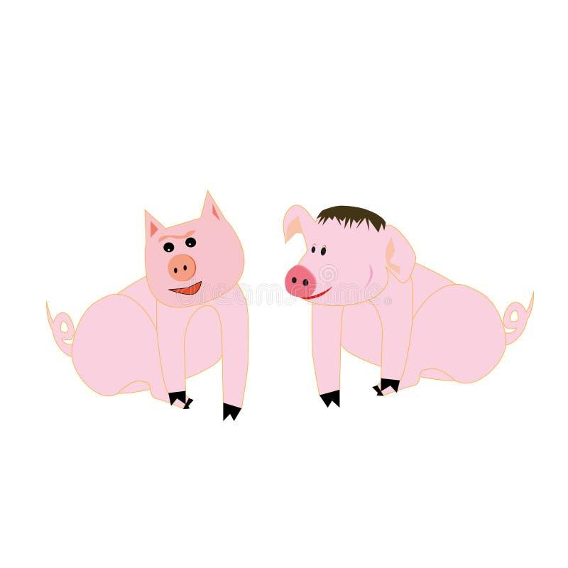 Świąteczna świnia i śmieszne świnie dla prezenta ilustracja wektor