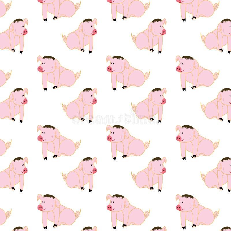 Świąteczna świnia i śmieszne świnie dla prezenta royalty ilustracja