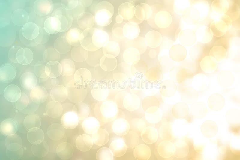 Świąteczna abstrakcjonistyczna złota turkusowa gradientowa tło tekstura z błyskotliwości błyskotania bokeh defocused okręgami Kar ilustracja wektor