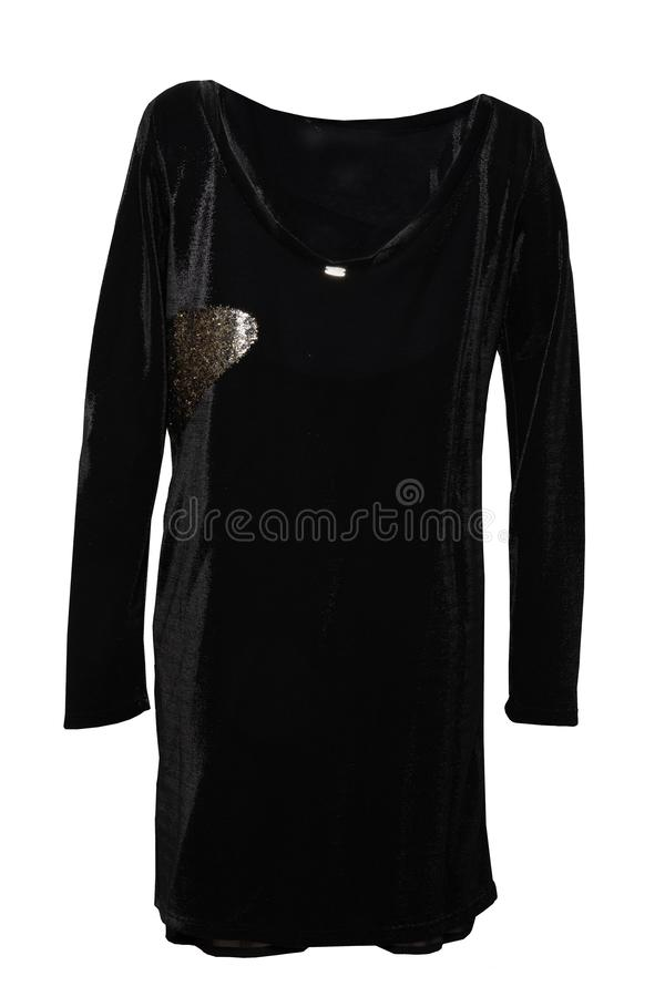 Świąteczna elegancka czerni koronki wieczór suknia z złotymi ornamentami ja zdjęcie royalty free
