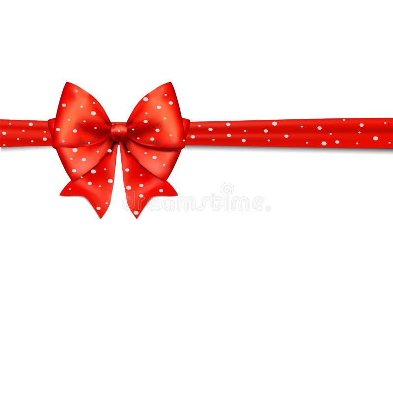 Świąteczna karta z czerwonym łękiem i śniegiem również zwrócić corel ilustracji wektora ilustracji