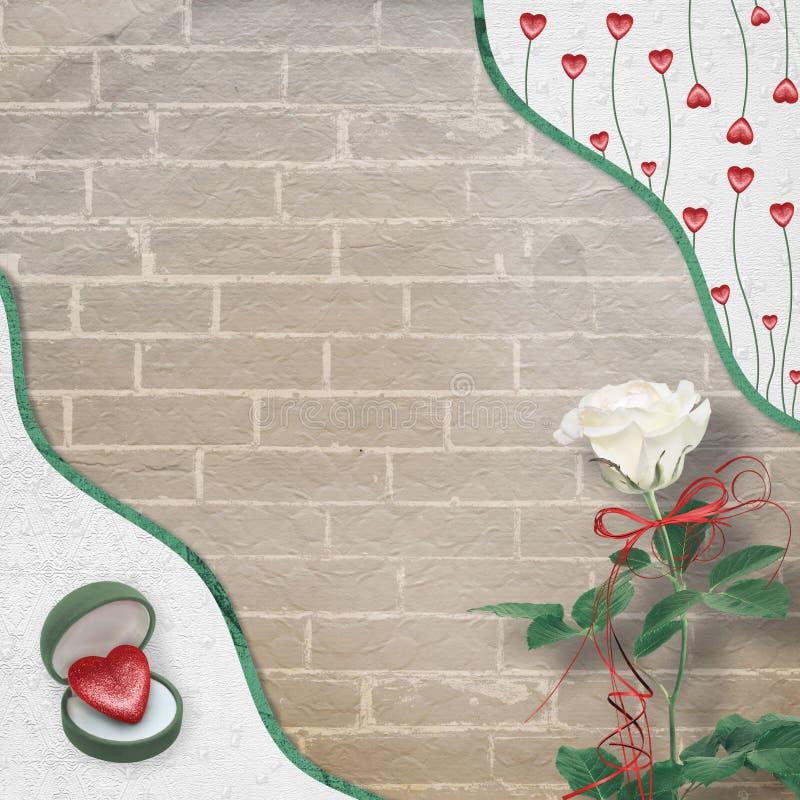 Świąteczna kartka z pozdrowieniami z biel różą, łękiem i symbolicznym sercem dla walentynka dnia powitań, royalty ilustracja