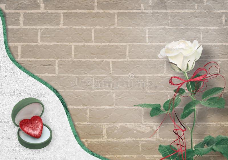 Świąteczna kartka z pozdrowieniami z biel różą, łękiem i symbolicznym sercem dla walentynka dnia powitań, ilustracja wektor