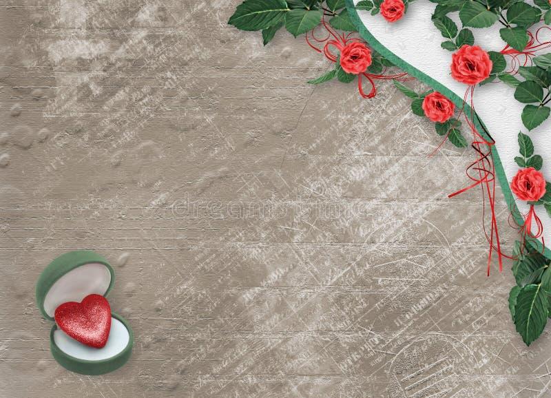 Świąteczna kartka z pozdrowieniami z czerwieni różą, łękiem i symbolicznym sercem dla walentynka dnia powitań, ilustracji