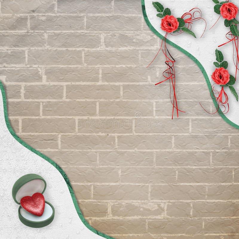Świąteczna kartka z pozdrowieniami z czerwieni różą, łękiem i symbolicznym sercem dla walentynka dnia powitań, royalty ilustracja