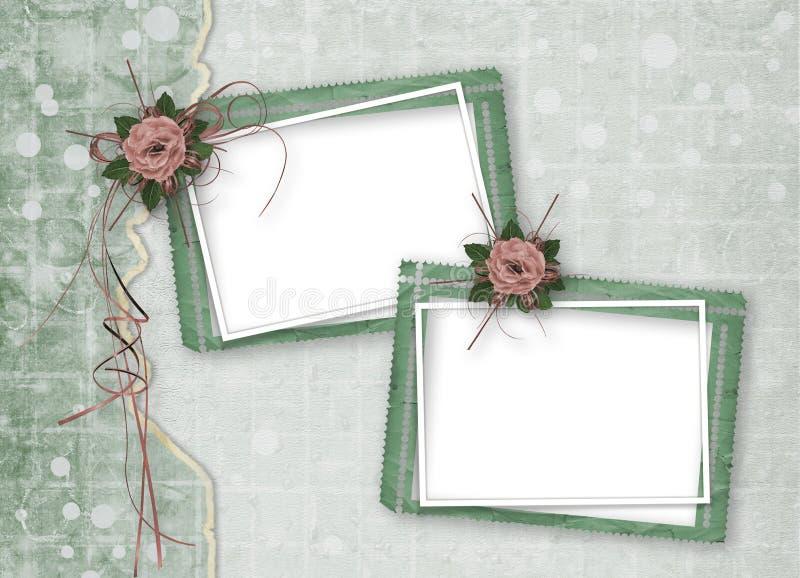Świąteczna kartka z pozdrowieniami z pięknymi różami i fotografii ramą dla powitań royalty ilustracja