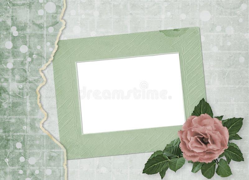 Świąteczna kartka z pozdrowieniami z pięknymi różami i fotografii ramą dla powitań ilustracji