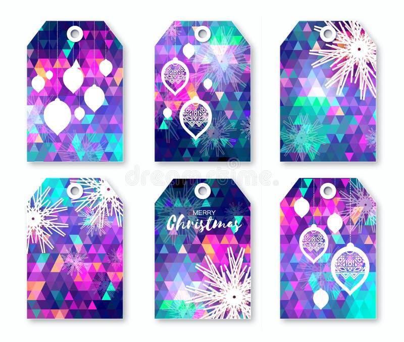 Świąteczna kolekcja neonowe poligonalne boże narodzenie etykietki z płatkami śniegu royalty ilustracja