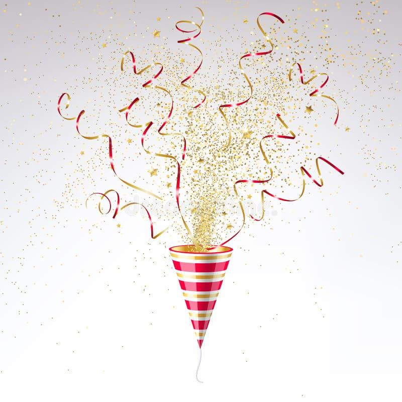 Świąteczna Partyjna napa z Złocistymi confetti royalty ilustracja