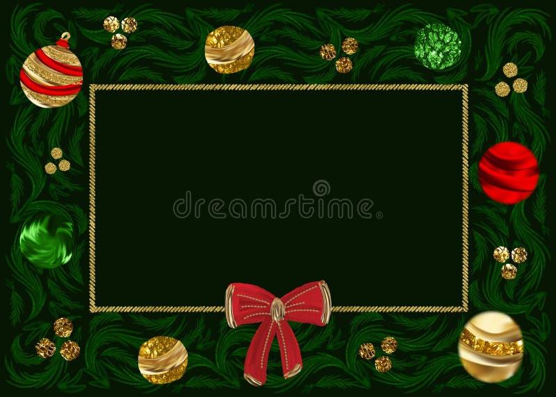 Świąteczna Zielona Bożenarodzeniowa wakacje rama ilustracja wektor