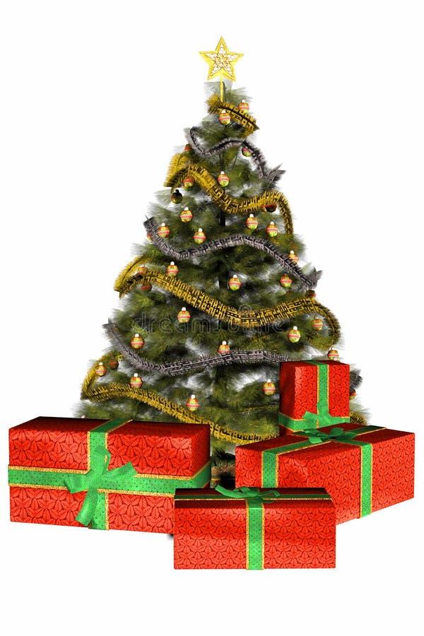 świąteczne prezenty drzewne ilustracja wektor