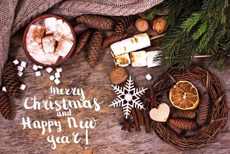 Świątecznego kartka z pozdrowieniami Wesoło boże narodzenia i Szczęśliwy nowy rok fotografia royalty free