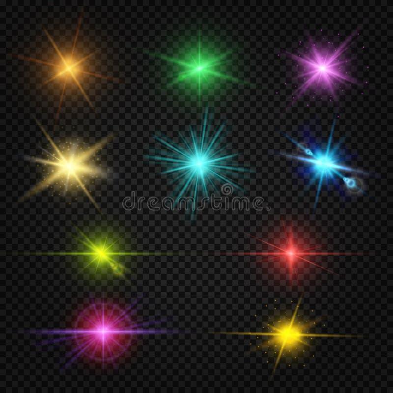 Świątecznego koloru obiektywu racy lekcy skutki, przyjęcie, rozrywka zaświecają wektorowych elementy royalty ilustracja